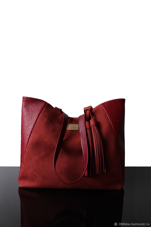 7433c4d3397f Женские сумки ручной работы. Ярмарка Мастеров - ручная работа. Купить  Бордовая кожаная/замшевая ...