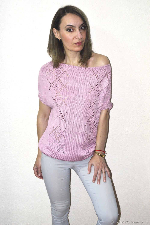 Розовый джемпер с ажурными ромбами