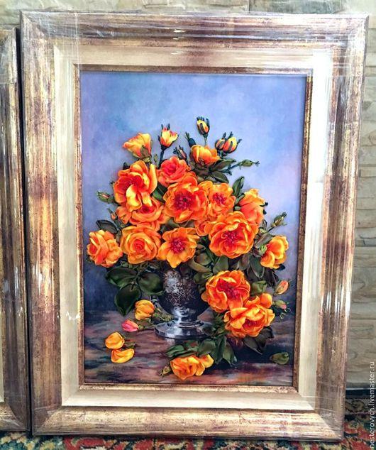 Картины цветов ручной работы. Ярмарка Мастеров - ручная работа. Купить Желтые розы.Вышивка лентами.. Handmade. Вышивка