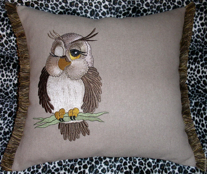 Вышивка сова на подушку