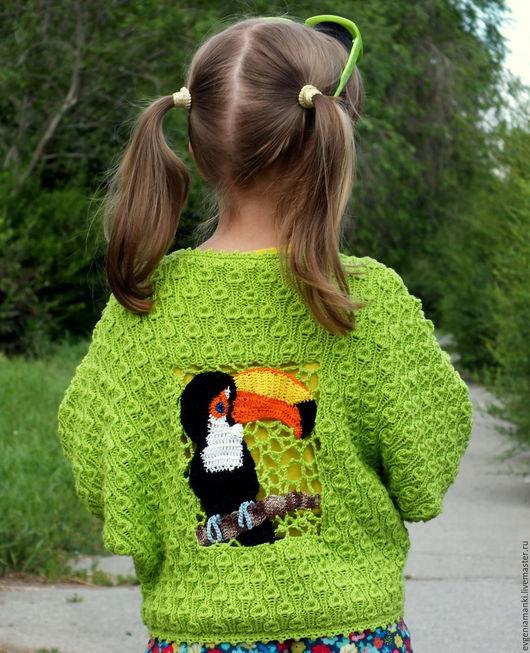 Одежда для девочек, ручной работы. Ярмарка Мастеров - ручная работа. Купить жакет Тукан вязаный детский авторский. Handmade. Зеленый