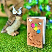 Открытки ручной работы. Ярмарка Мастеров - ручная работа Деревянная открытка #ENJOY «Мишка». Handmade.