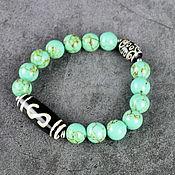 Украшения handmade. Livemaster - original item Pressed Afghan turquoise bracelet, Dzi 21 eye, Dzi Money hook. Handmade.