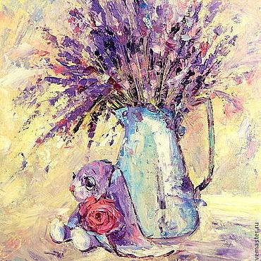 Картины и панно ручной работы. Ярмарка Мастеров - ручная работа Картина маслом на холсте. Лавандовый сон в полдень. Handmade.