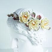 Диадемы ручной работы. Ярмарка Мастеров - ручная работа Венок с розами цвета айвори. Handmade.