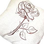 "Подушки ручной работы. Ярмарка Мастеров - ручная работа Льняная подушка ""Роза"", 50х50. Handmade."