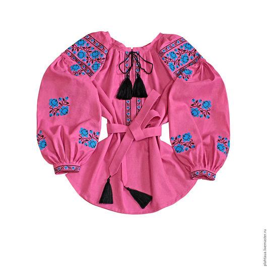 Блузки ручной работы. Ярмарка Мастеров - ручная работа. Купить Женская вышиванка «Чайная роза». Handmade. Розовый, летняя блуза