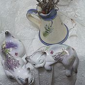 Для дома и интерьера handmade. Livemaster - original item Lavender Blues-2 (ceramic cats). Handmade.