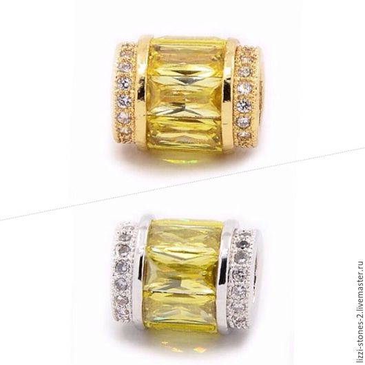 Бусина бочонок с лимонными кристаллами золото и серебро (Milano) Евгения (Lizzi-stones-2)