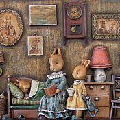 """Картины и панно ручной работы. Ярмарка Мастеров - ручная работа """"Сказка на ночь"""" (папье-маше, дерево). Handmade."""