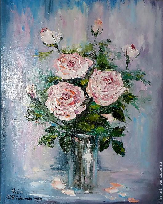 Картины цветов ручной работы. Ярмарка Мастеров - ручная работа. Купить Розы Картина маслом на холсте -