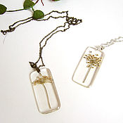 Украшения handmade. Livemaster - original item Transparent Pendant with a Real Green Umbrella Dill Botany Eco. Handmade.