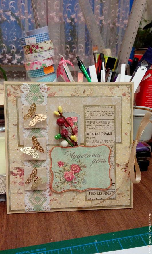 Открытка с бабочками `Чудесный день` ручной  работы