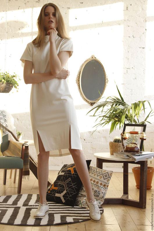 Платья ручной работы. Ярмарка Мастеров - ручная работа. Купить Платье. Handmade. Бежевый, платье по колено, платье на выход