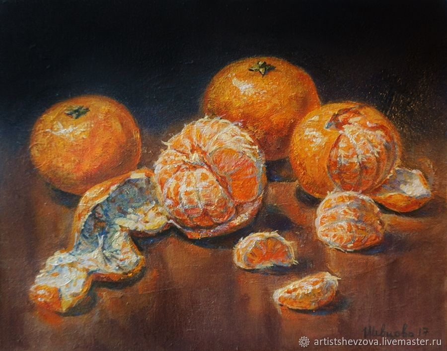 Still life with tangerines, oil painting on canvas, Pictures, Voronezh,  Фото №1
