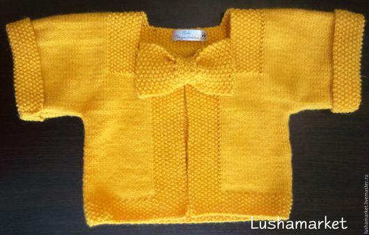 Кофты и свитера ручной работы. Ярмарка Мастеров - ручная работа. Купить Свитер (кардиган) для девочки. Handmade. Желтый, кардиган вязаный