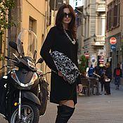 Одежда ручной работы. Ярмарка Мастеров - ручная работа Вязаное черное платье Rib Comfort. Handmade.