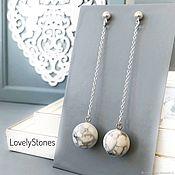 Украшения handmade. Livemaster - original item Chain earrings marble silver long earrings. Handmade.
