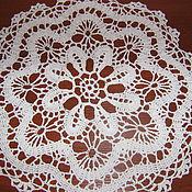 Для дома и интерьера ручной работы. Ярмарка Мастеров - ручная работа салфетка круглая белая. Handmade.