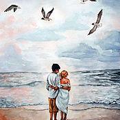 """Картины ручной работы. Ярмарка Мастеров - ручная работа Картины: голубой, розовый. """"Влюблённые у моря"""". Handmade."""
