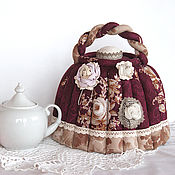 Посуда handmade. Livemaster - original item The tea cosy. Gift for a cozy kitchen, Burgundy. Handmade.