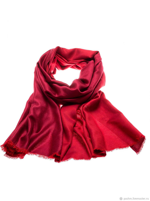 Красный палантин из кашемира и шелка, Палантины, Москва,  Фото №1