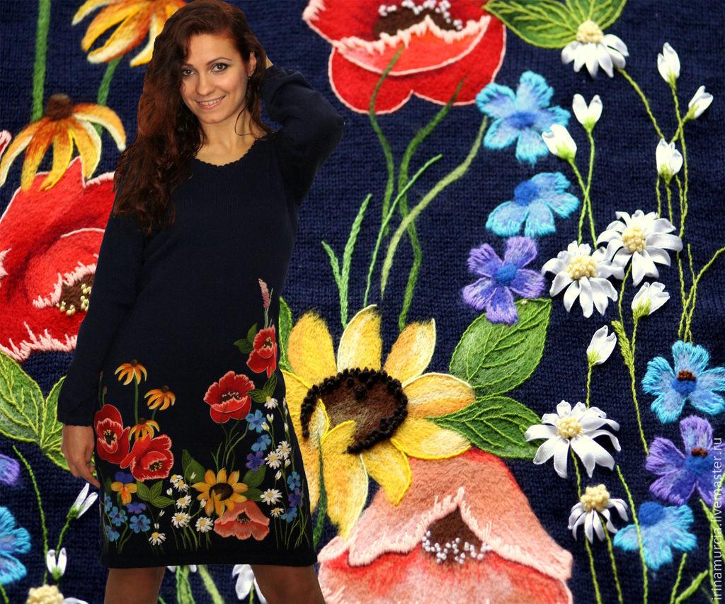 """Вязаное платье с цветами, ручная вышивка """" Летнее цветение """", Платья, Мурсия,  Фото №1"""