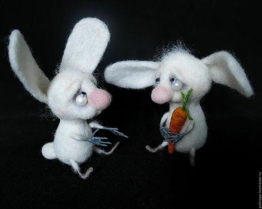 Игрушки животные, ручной работы. Ярмарка Мастеров - ручная работа. Купить Зайка. Handmade. Белый, валяная игрушка, зайчик, проволока