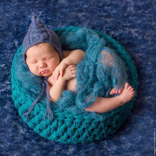 Фотореквизит. Корзина `Синяя бирюза` для фотосессии новорожденных