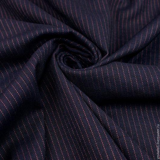 Шитье ручной работы. Ярмарка Мастеров - ручная работа. Купить Шерсть плательно-костюмная   темно-синяя ARMANI. Handmade.