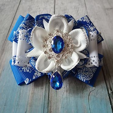 Decorations handmade. Livemaster - original item Blue and white bow. Handmade.