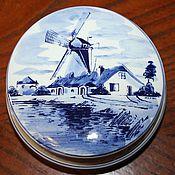 Винтаж handmade. Livemaster - original item Vintage porcelain jewelry box hand painted, 100% Delft, the Netherlands. Handmade.