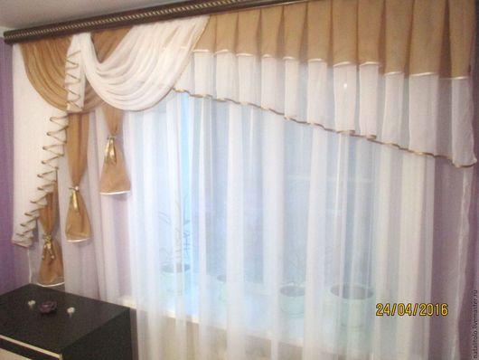 Текстиль, ковры ручной работы. Ярмарка Мастеров - ручная работа. Купить ламбрекен. Handmade. Бежевый, шторы, окно, тюль