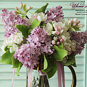 Цветы и флористика handmade. Livemaster - original item Bouquet with Apple and lilac polymer clay. Handmade.