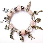 Украшения handmade. Livemaster - original item Б19 Bracelet with pink quartz charms. Handmade.