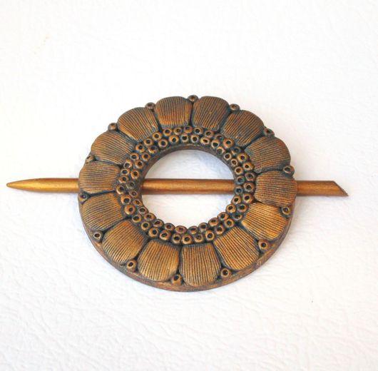 Заколки ручной работы. Ярмарка Мастеров - ручная работа. Купить Заколка-Фибула для шали Цветок золотой (для вязаных изделий). Handmade.