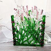 """Для дома и интерьера ручной работы. Ярмарка Мастеров - ручная работа Ваза-подсвечник из стекла """"Зеленый лес"""", фьюзинг. Handmade."""