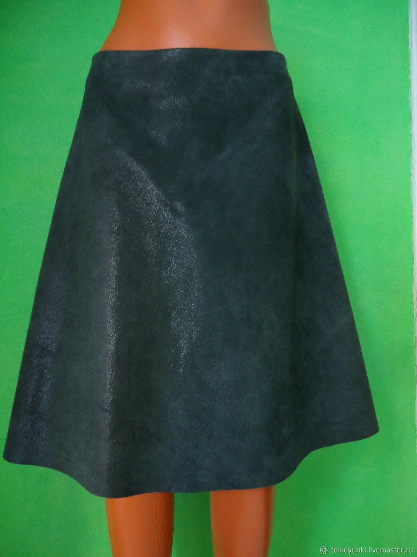 Skirt genuine leather dark green, Skirts, Novosibirsk,  Фото №1