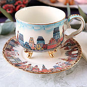 Посуда handmade. Livemaster - original item teacups: Porcelain tea pair
