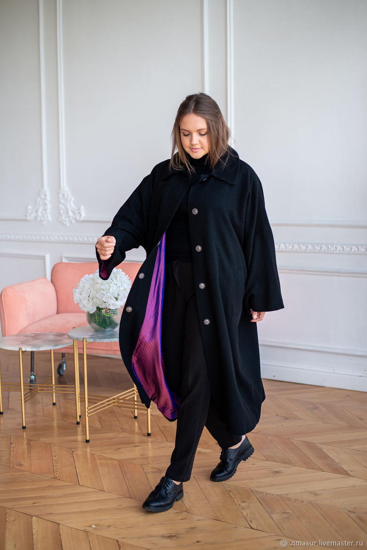 Пальто из Итальянской полушерсти черное мелкое букле – купить на Ярмарке Мастеров – P6PZIRU | Пальто, Новосибирск