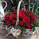 Букеты ручной работы. Ярмарка Мастеров - ручная работа. Купить Корзинка из пионовидных роз. Handmade. Разноцветный, розы, корзинка с цветами