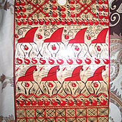 "Русский стиль handmade. Livemaster - original item Wooden cutting board ""Mezen-2"", Russian style, handmade kitchenware. Handmade."