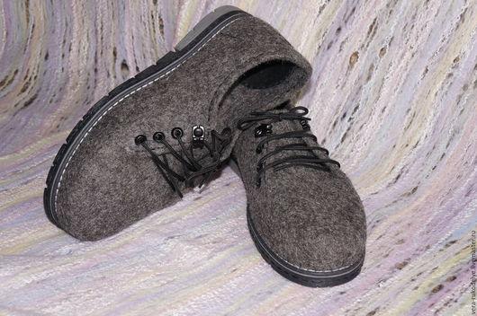 """Обувь ручной работы. Ярмарка Мастеров - ручная работа. Купить Туфли мужские валяные """"Седой граф"""". Handmade. Валяная обувь"""