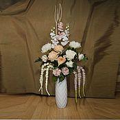 Цветы и флористика ручной работы. Ярмарка Мастеров - ручная работа Композиция из искусственных цветов напольная в белой вазе. Handmade.