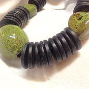Украшения handmade. Livemaster - original item Necklace with large ceramic beads and wooden !Oliva!. Handmade.