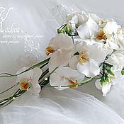 Свадебный салон handmade. Livemaster - original item bouquet with orchids and freesia polymer clay. Handmade.