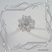 Украшения handmade. Livemaster - original item Ring GLITTER with CUBIC Zirconia (925 sterling silver). Handmade.