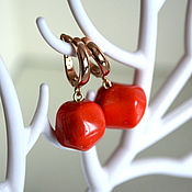 Украшения handmade. Livemaster - original item Gold plated earrings, natural coral
