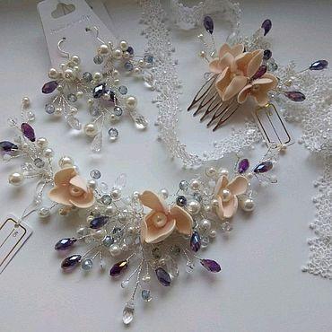 Свадебный салон ручной работы. Ярмарка Мастеров - ручная работа Свадебный комплект (серьги + венок). Handmade.