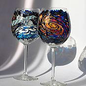 """Посуда ручной работы. Ярмарка Мастеров - ручная работа Бокалы для вина """"Космические дали"""". Handmade."""